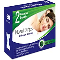 Nasal Strips Clear 60 Pack Sleepeze Remedies® | Stop Snoring Nasal Aids Help You Breathe Right | Premium Anti Snoring Nasal Strips Dilators That Aids Sleep Apnea and Snore Devices |12M Guarantee