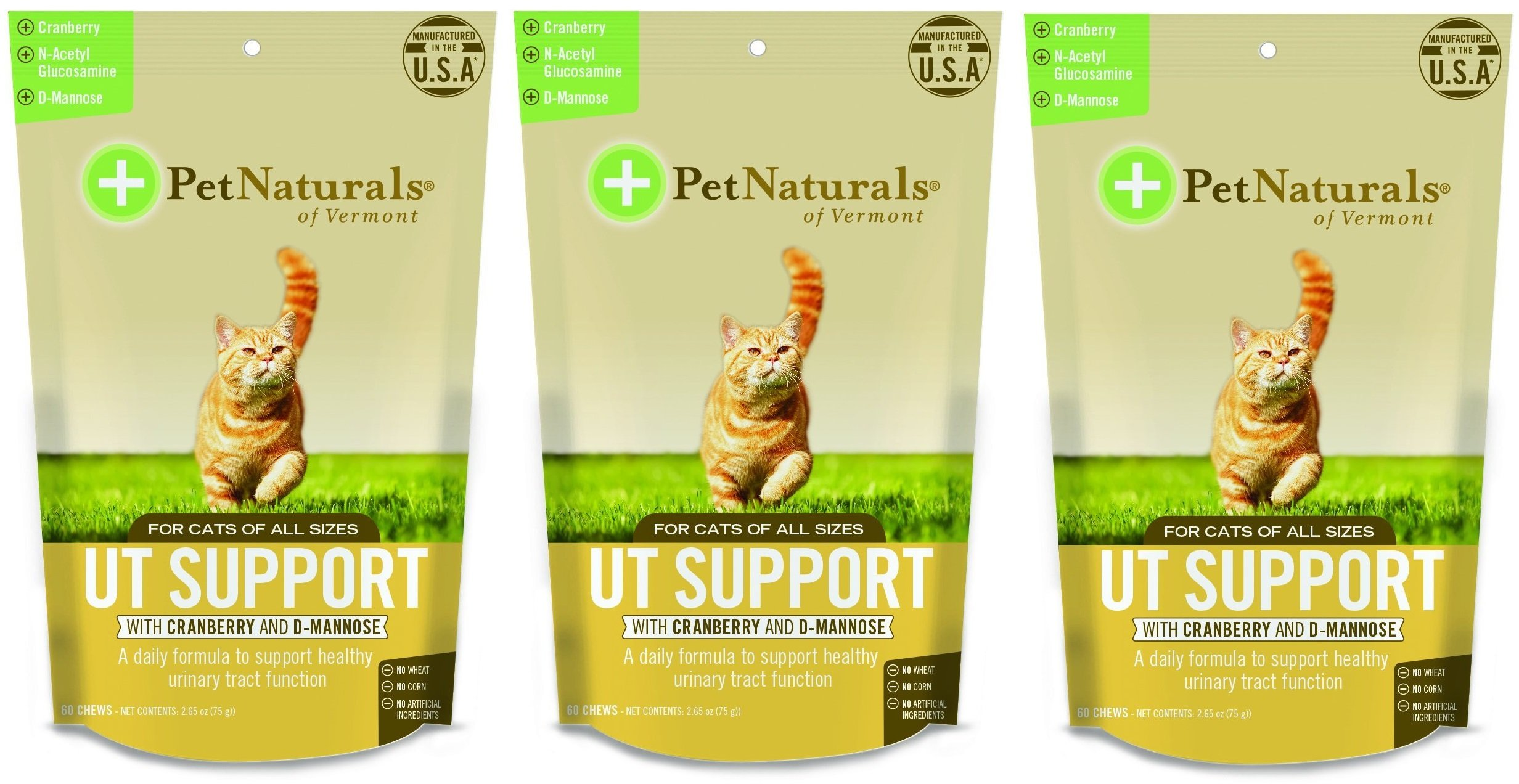 (3 Pack) Pet Natural's of Vermont 60 Count Urinary Tract Support Supplement Soft Chews for Cats by Pet Naturals