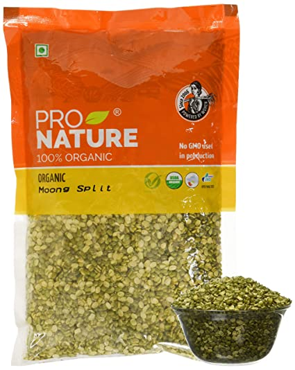 Pro Nature Organic Pulses - Moong Green Split, 500g Pouch