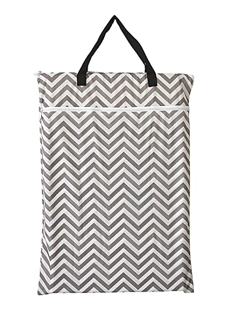 Amazon.com : Large Hanging Wet/dry Cloth Diaper Pail Bag for Reusable Diapers or Laundry (Grey Chevron) : Baby