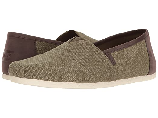 Men's Classic Slip On (9.5 D(M) US (Olive Washed Canvas/Trim))