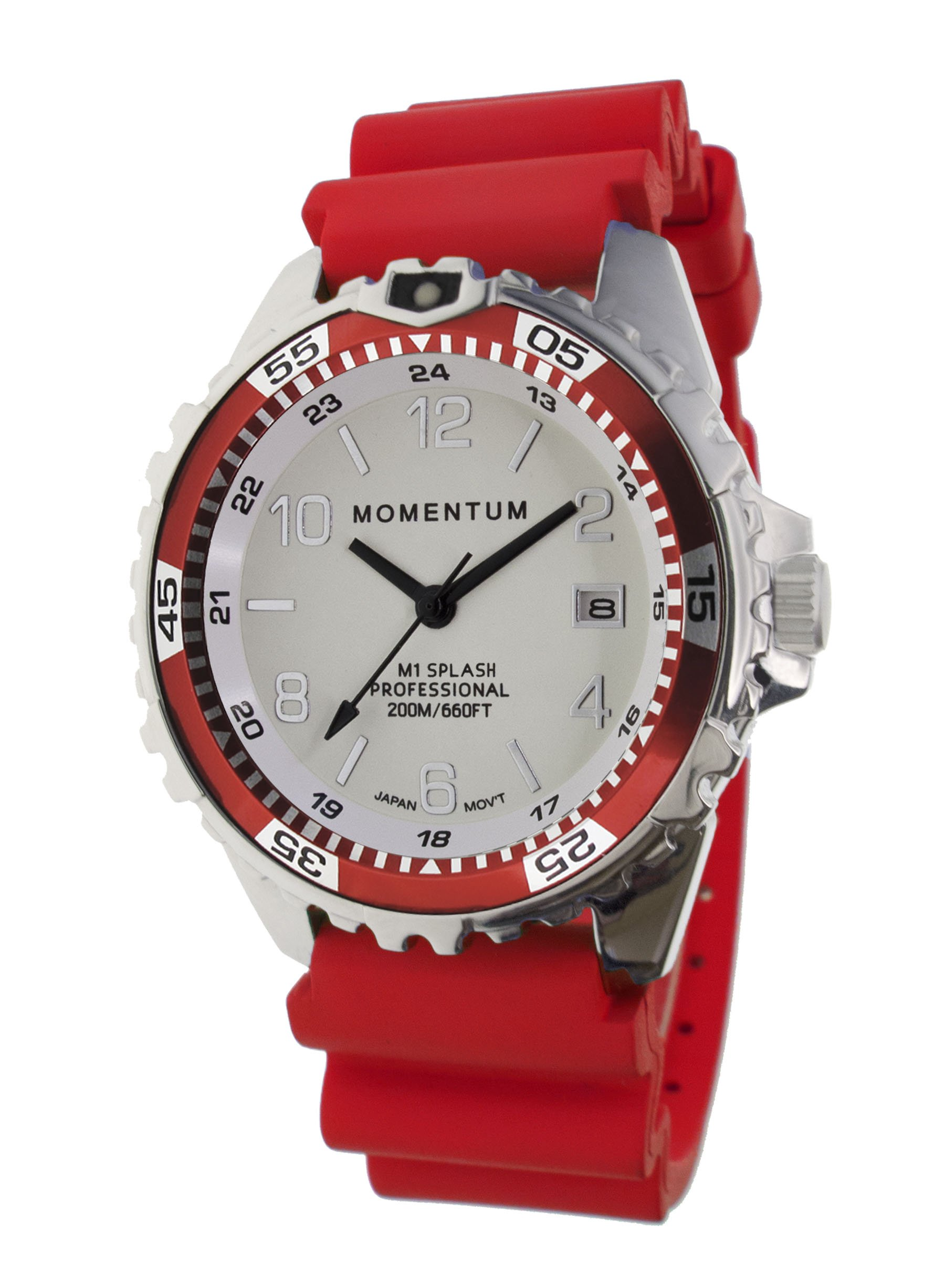 Momentum Women's Quartz Stainless Steel and Rubber Diving Watch, Color:Red (Model: 1M-DN11LD1D)