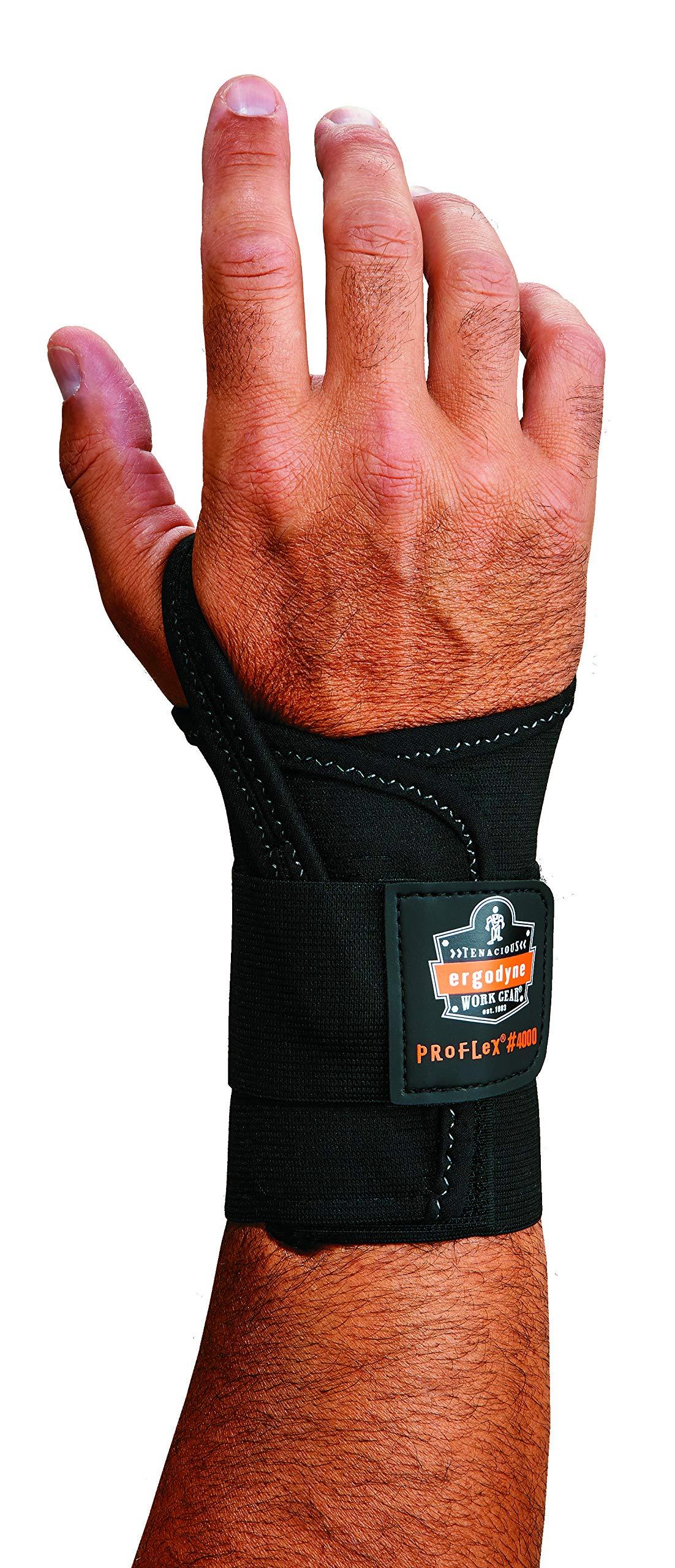 Ergodyne ProFlex 4000 Single Strap Wrist Support, Black - Large, Right Hand