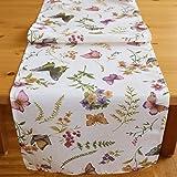 """Kamaka Excelente colección """"mariposas en un campo de flores"""", en color crema y tonos pastel, una joya en cualquier habitación; se puede elegir entre manteles, caminos de mesa y fundas de cojín, poliéster, creme - bunt, Tischläufer 40x140 cm"""