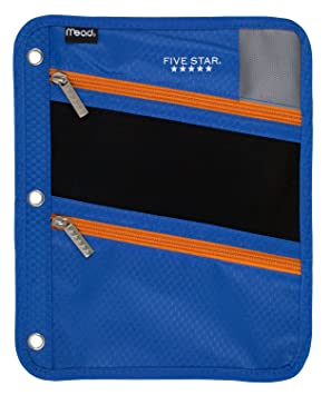 Five Star Pencil Pouch, Pen Case, Fits 3 Ring Binder, Zipper Pouch, Blue/Orange (50642 Cb8) by Five Star