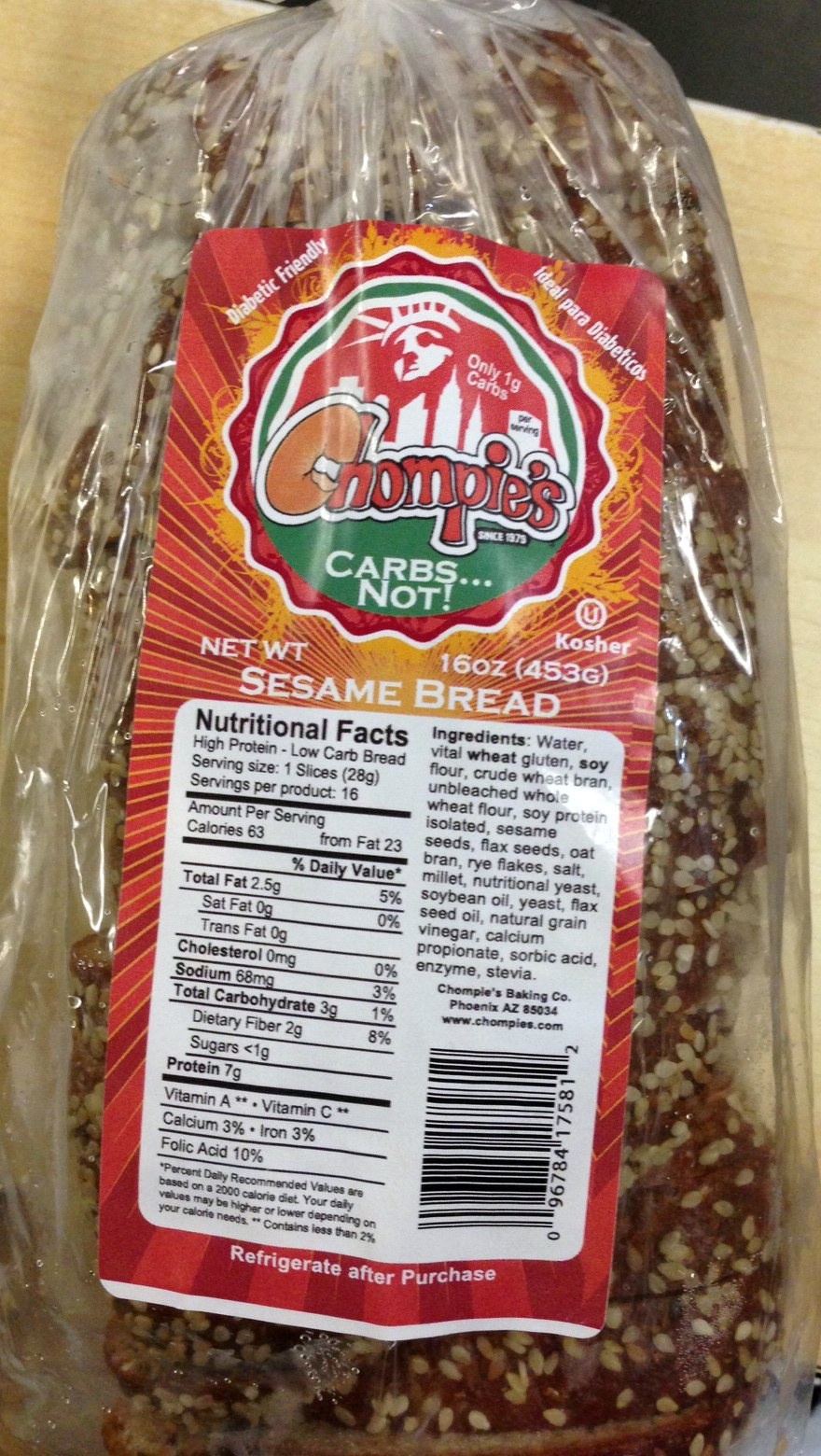 Chompies Sesame Low Carb Bread 2 Loaves by Chompies Carbs Not