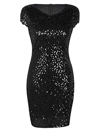 4fd0993c5db3 PrettyGuide Women's Sequin Cocktail Dress Short Sleeve Glitter Bodycon  Party Dress S Black