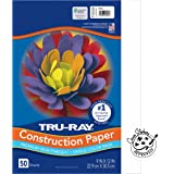 "Pacon Tru-Ray Heavyweight Construction Paper, White, 9"" x 12"", 50 Sheets"
