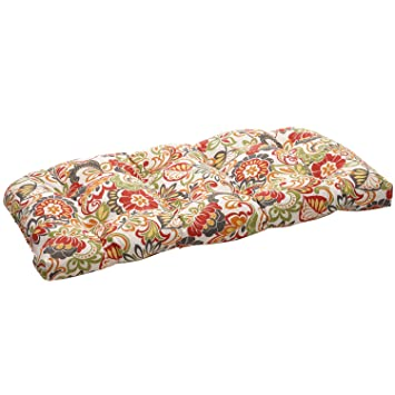 Pillow Perfect Indoor/Outdoor Multicolored Modern Floral Wicker Loveseat  Cushion