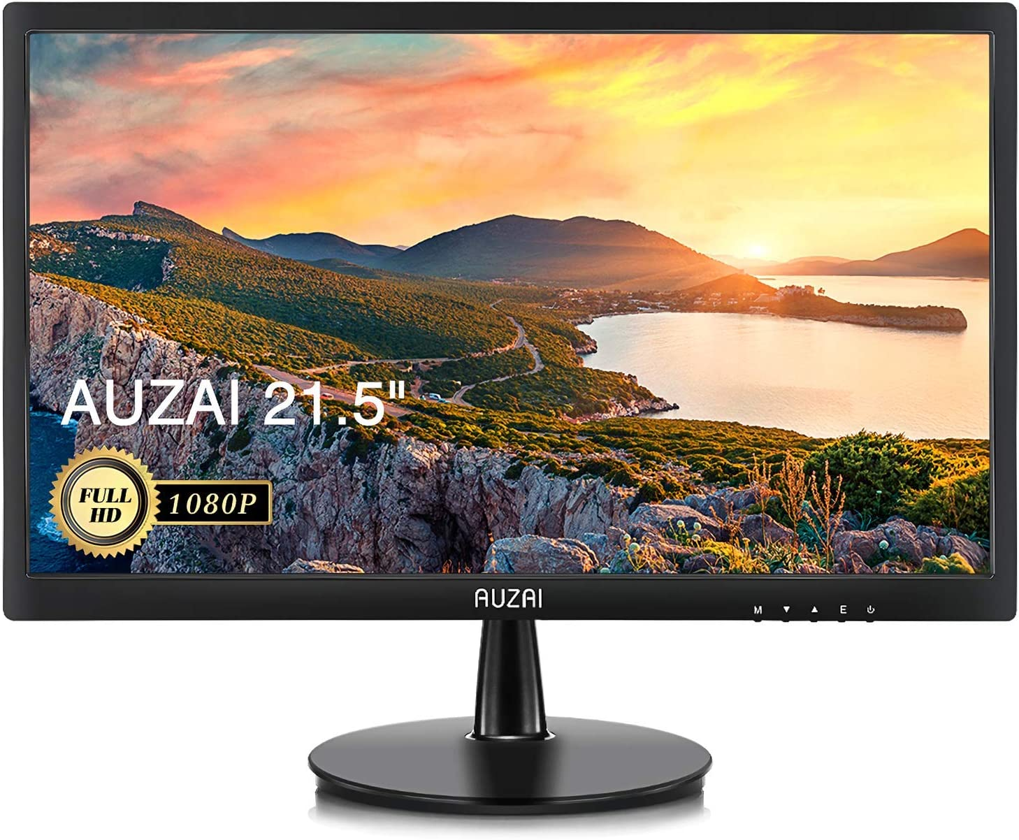 Computer Monitor- AUZAI 21.5 inch 1080p Full HD LED Computer Monitor for Business 75Hz 5ms with VESA Mounting Eye Care Anti Glare Panel Tilt VGA HDMI Port for Laptop PC Phone, Black