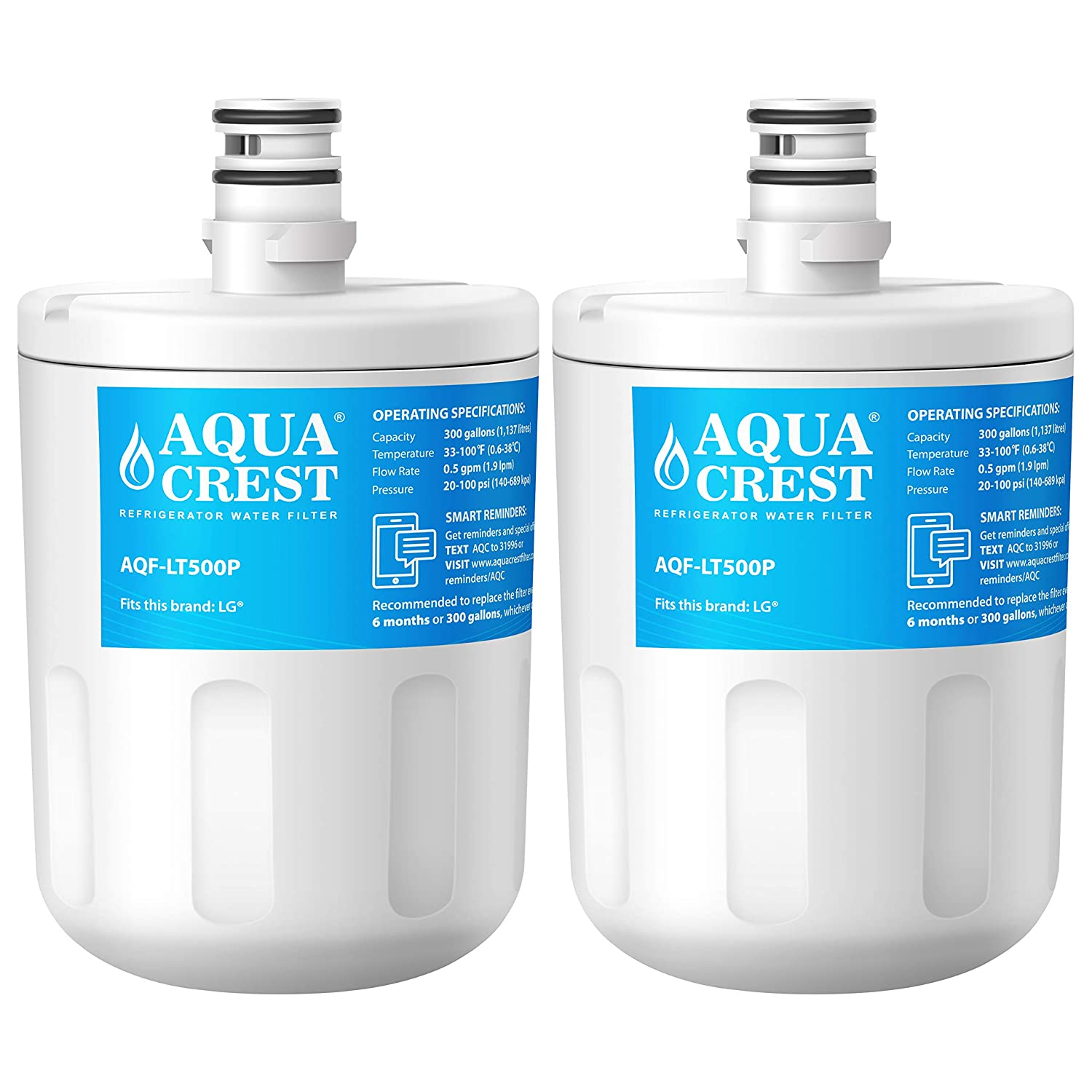 AQUACREST Refrigerator Water Filter, Compatible with LG 5231JA2002A, LT500P, GEN11042FR-08, LFX25974ST, ADQ72910901, ADQ72910907, Kenmore 9890, 46-9890, 469890 (Pack of 2)