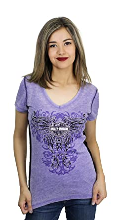 ed9f7045 Harley-Davidson Womens Embrace Winged B&S Burnout with Lace Purple Shirt (2X )