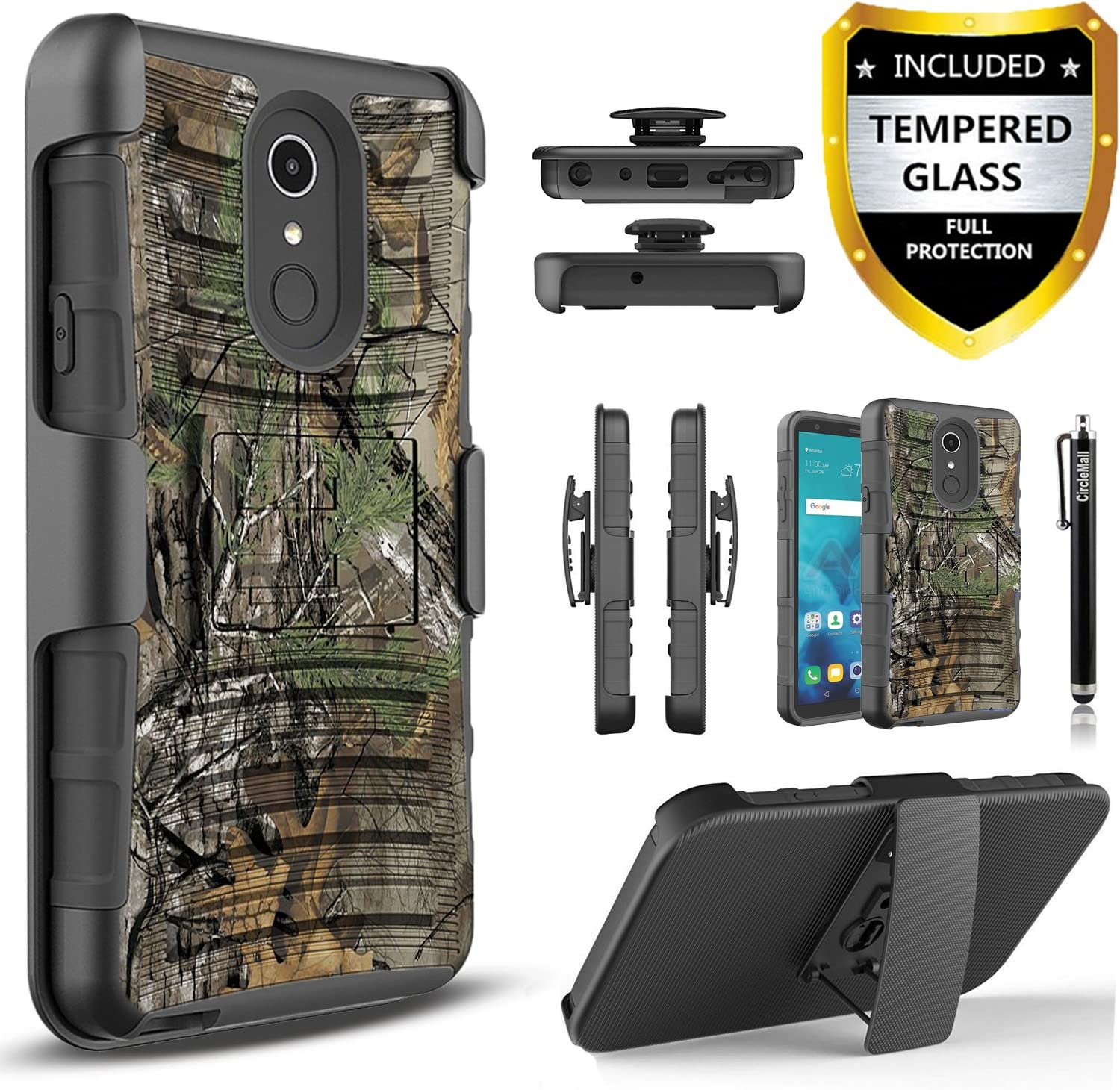 LG Stylo 4 Case, LG Q Stylus Case with [Temerped Glass Screen Protector Included], Circlemalls and Built-in Kickstand Dual Layers Cover Heavy Duty Combo Holster Phone Cover and Stylus-Camo