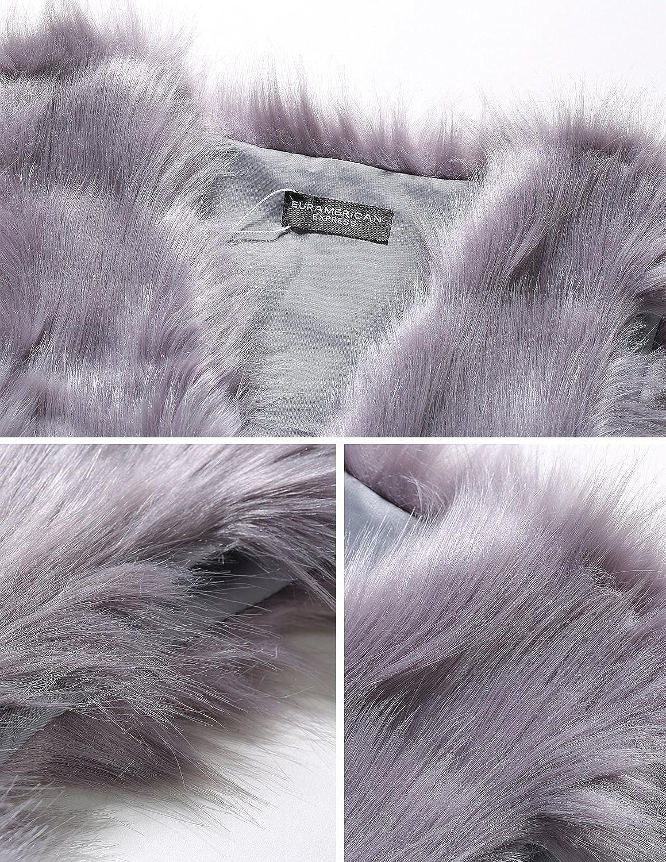 carinacoco Donna Gilet di Pelliccia Invernale Cappotto Senza Maniche Giacchetto Giubbotto Faux Fur Lungo Giacca Parka Trench