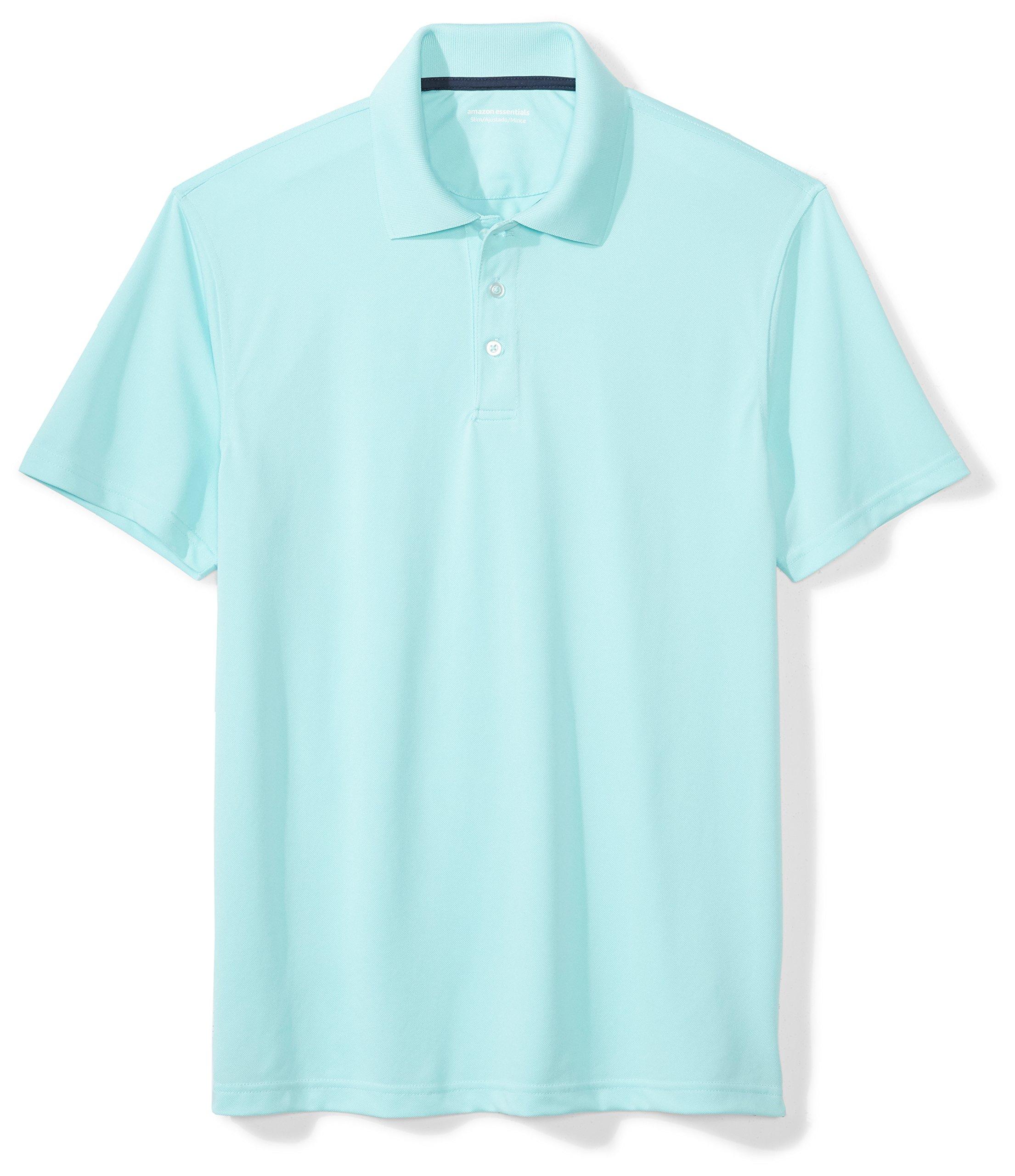 Amazon Essentials Men's Slim-Fit Quick-Dry Golf Polo Shirt, Aqua, Small by Amazon Essentials