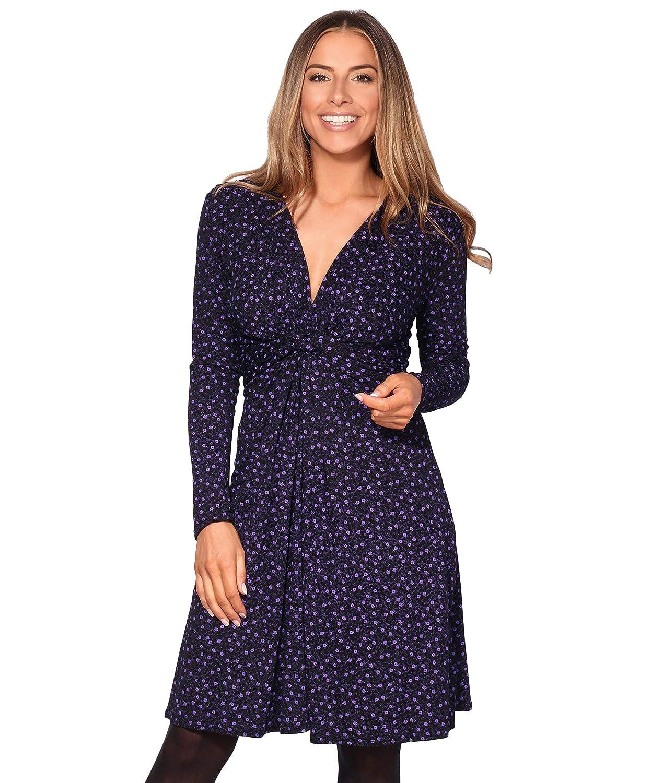 TALLA 36. KRISP Vestido Mujer Corto Talla Grande Boda Noche Manga Cóctel Fiesta Elástico Plisado Elegante Ceremonia Morado (5284) 36