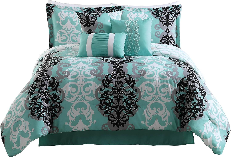 Carmela Home Studio 17 Downton 7-Piece Full/Queen Comforter Set, Aqua