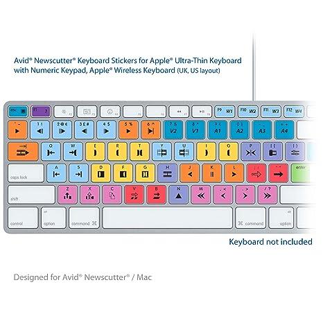 Avid NewsCutter teclado para ordenador portátil editar apto para llave de etiquetas de pegatinas - MAC