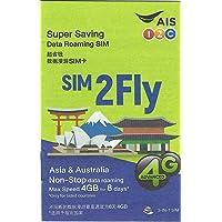 Carte Sim prépayée Asie - 14 Pays - 4 Go de Data 3G / 4G - 8 Jours - SIM2Fly