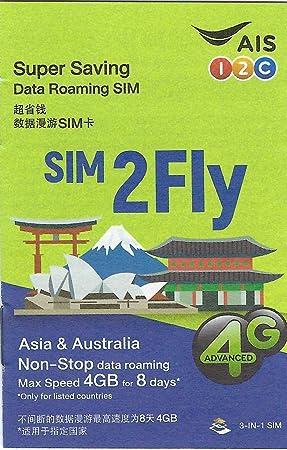 SIM Asia en Prepago - 14 País - 4GB Data 3G / 4G - 8 Días - SIM2Fly
