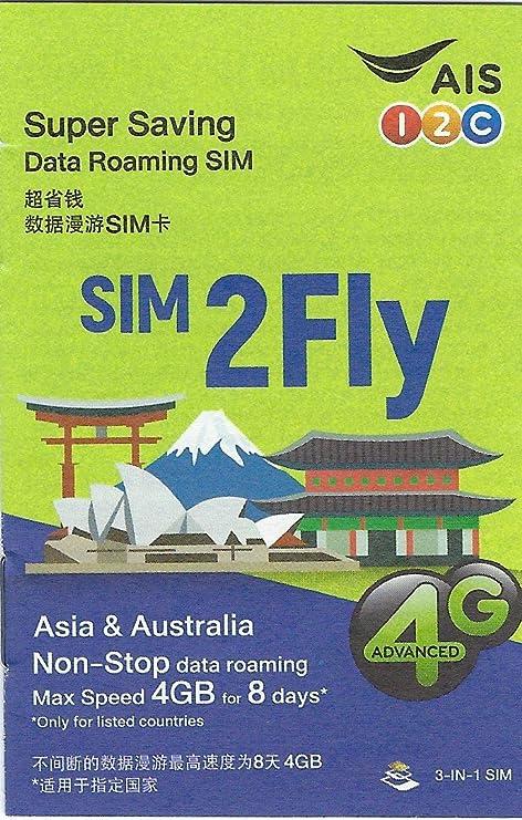 Karte Asien.Prepaid Sim Karte Asien 14 Länder 4gb Daten 3g 4g 8 Tage Sim2fly