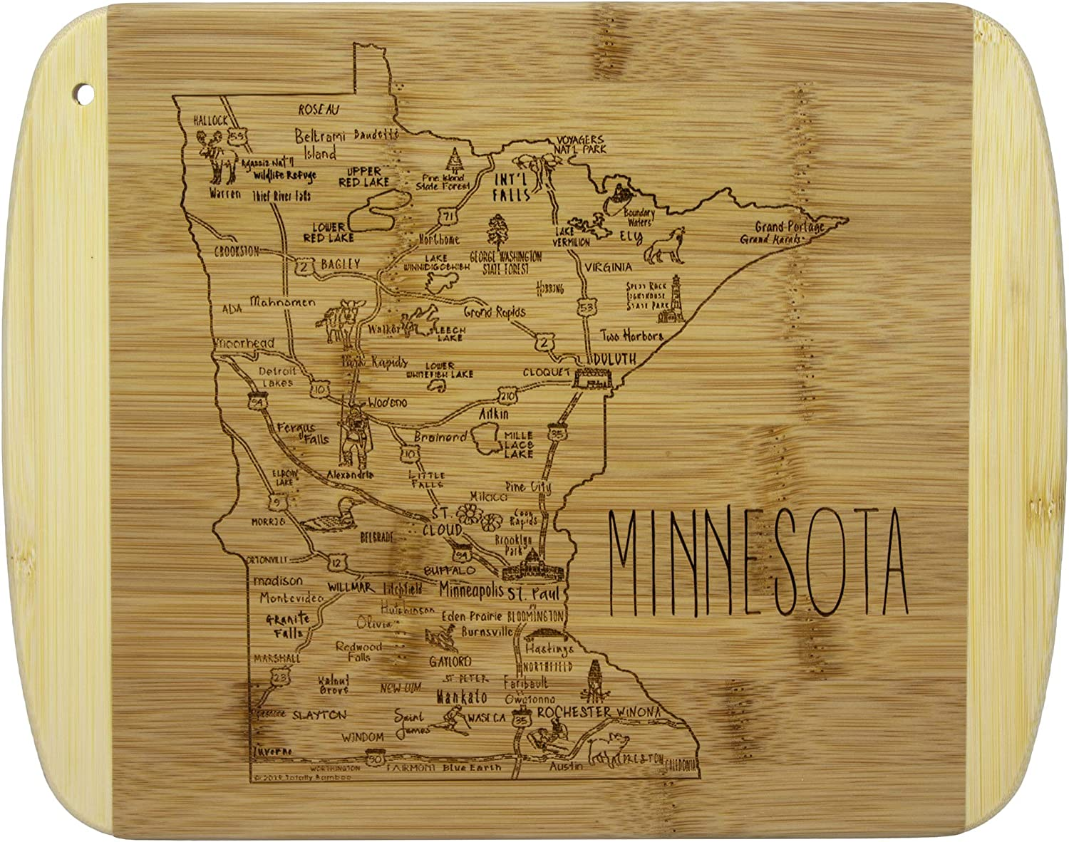 Totally Bamboo A Slice of Life Minnesota Bamboo Serving and Cutting Board