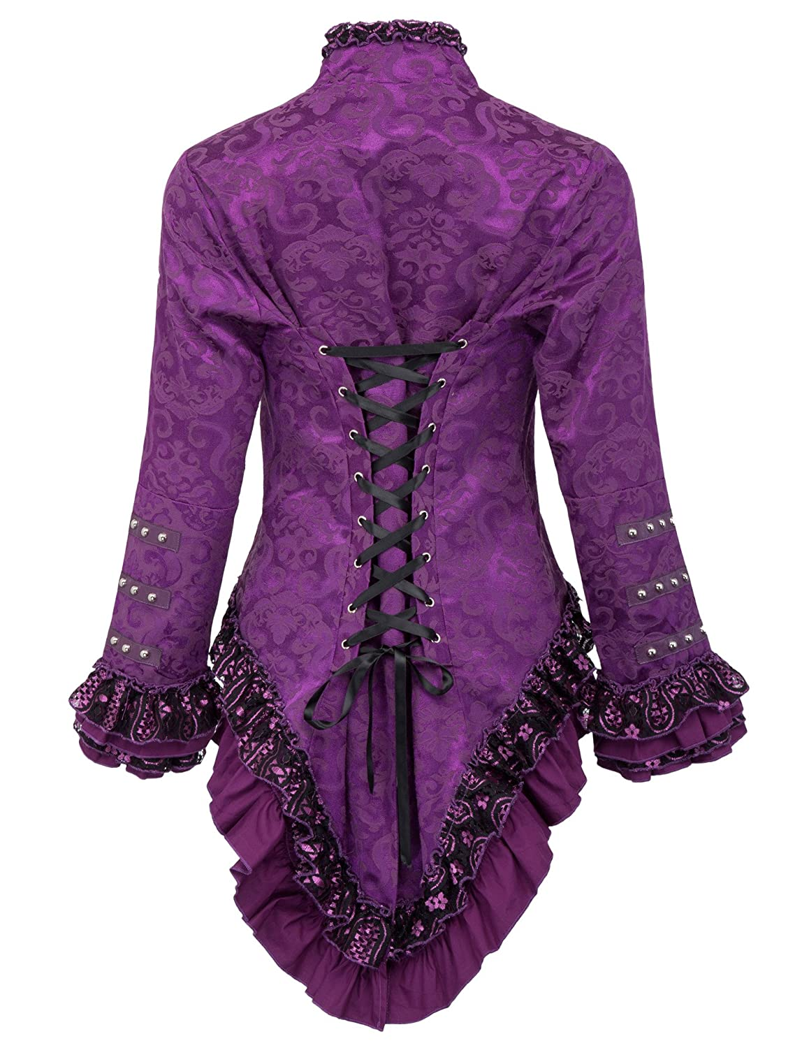Clothing, Shoes & Accessories Belle Poque Womens Gothic Steampunk Tail Jacket Coat with Back Lacing Women's Clothing