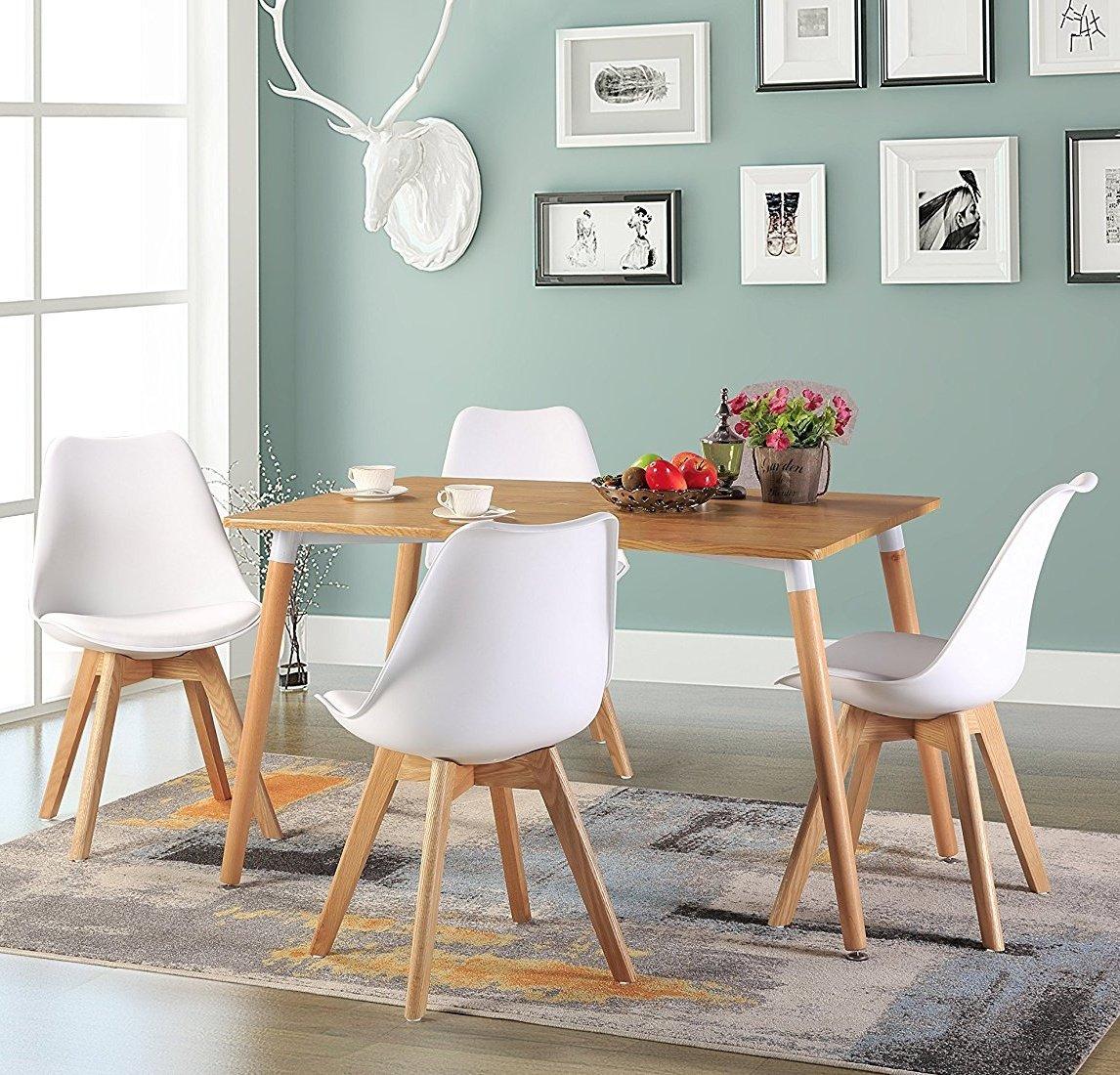 Lot DE 6 Chaise de Cuisine pour Salle à Manger Design scandinave,Chaises Rétro Tulip avec Pieds en Bois de Chêne Massif,Blanc
