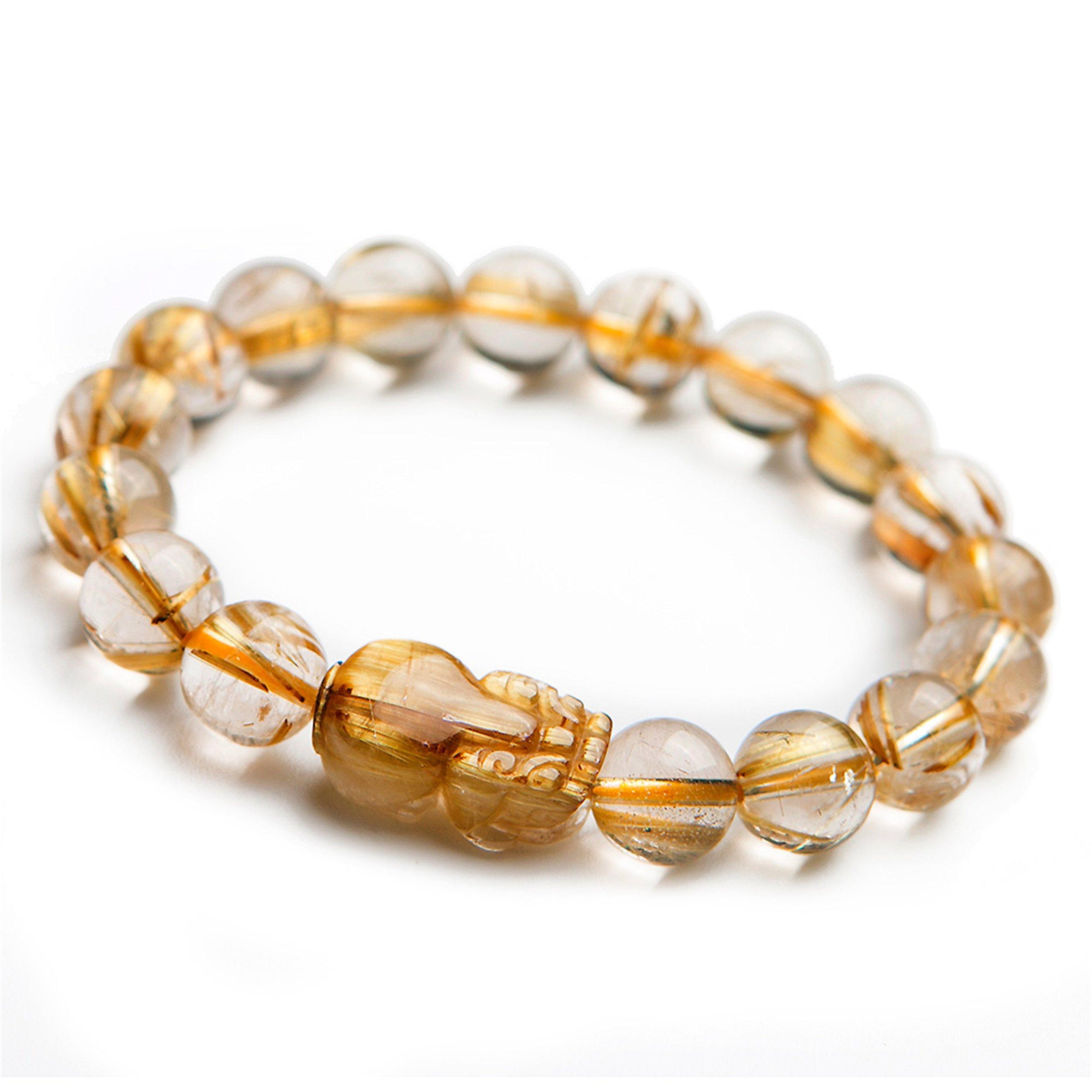 LiZiFang Genuine Natural Gold Rutilated Quartz Crystal Bracelets for Women Men Pixiu Round Bead Bracelet 11mm