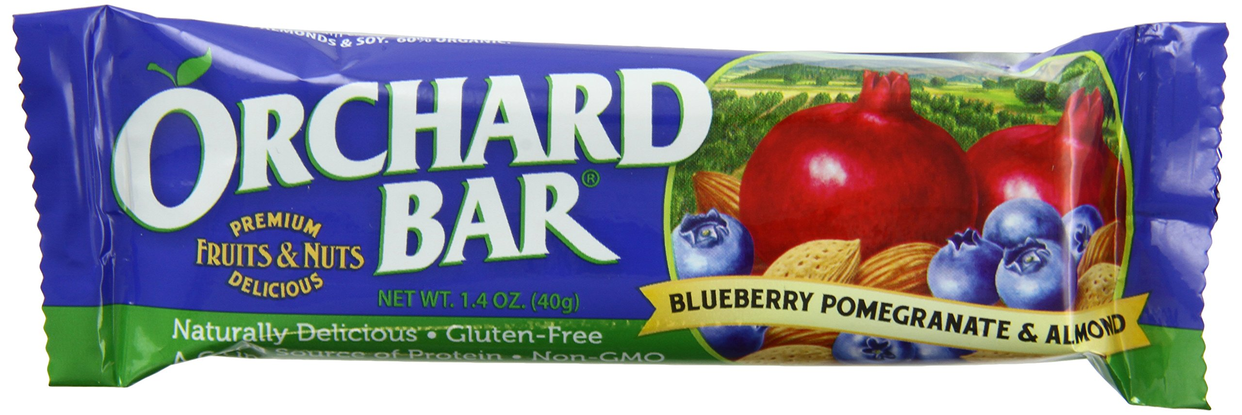 Orchard Bars Fruit and Nut Bar, Blueberry Pomegranate Almond, 1.4 Ounce (Pack of 12)