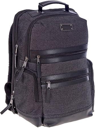 Renwick Messenger Bag Leather Trim Gray Organizer Travel Briefcase Laptop Sleeve