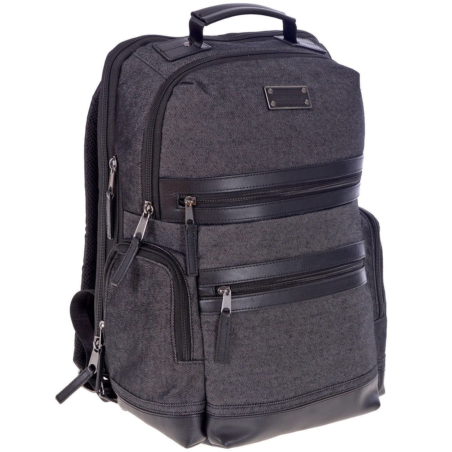 Amazon.com: Renwick Business Backpack with Genuine Leather Trim, Black Denim: Computers & Accessories