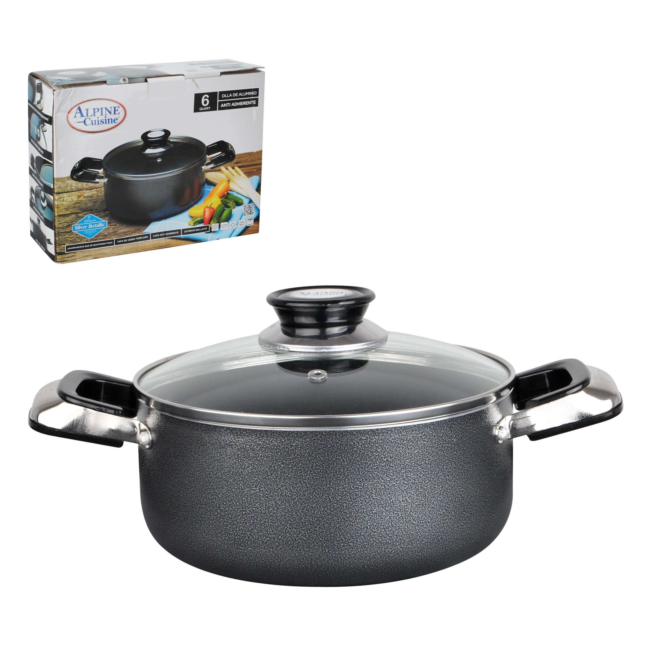 Aramco Alpine Gourmet Aluminum Non-Stick Coating Dutch Oven, 4 quart, Silver/Gray