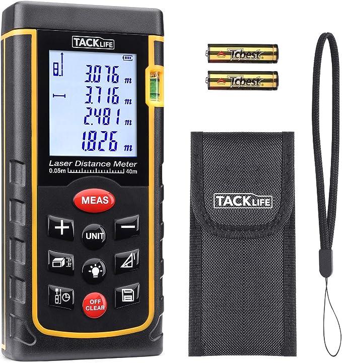 Tacklife Advanced Laser Distance Meter Distance Meter with LCD Backlight, Dust and Splash Protection IP 54: Amazon.de: Baumarkt