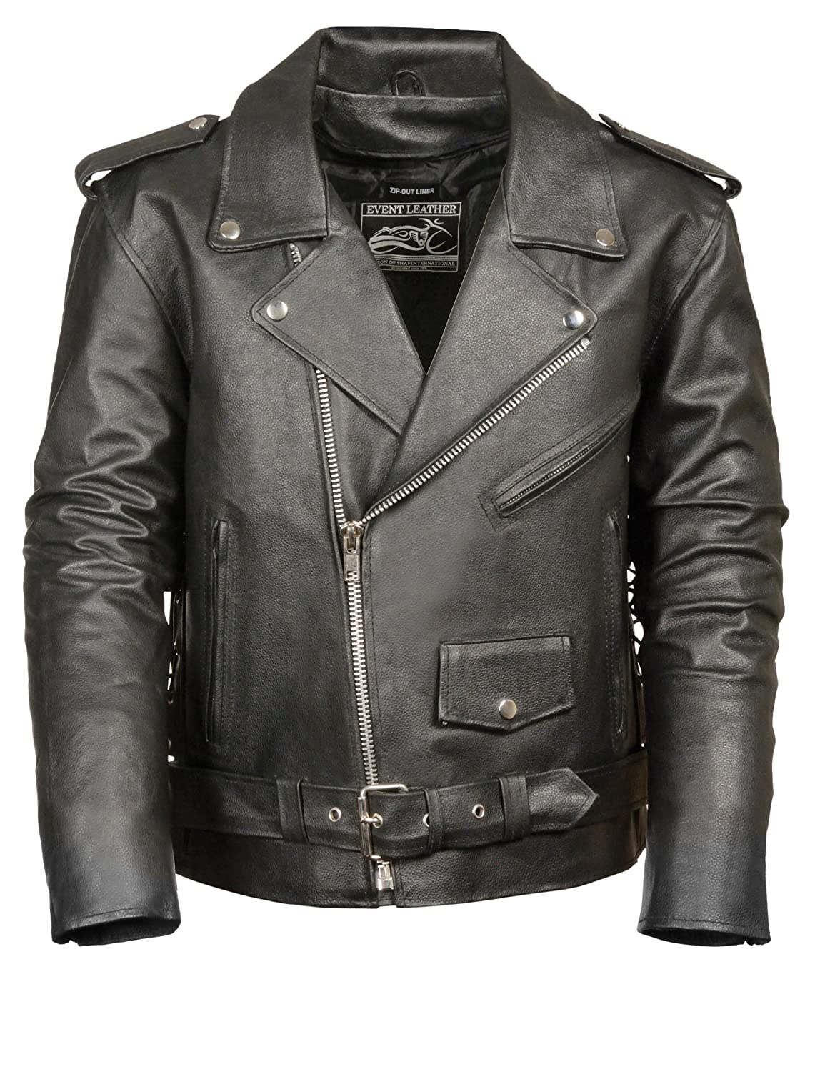 Event Biker Leather Men's Basic Motorcycle Jacket with Pockets (Black, Medium) Shaf International Inc. EL5411-BLK-MD