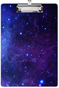 """Hongri Clipboard,Fashion Print Designfull Color Printing Clipboard for Nurses, Lawyers and Students Use,A4 Standard Size 8.26""""x12.2"""" Paperboard Clipboard Low Profile Clip,Dark Blue Starry Sky"""