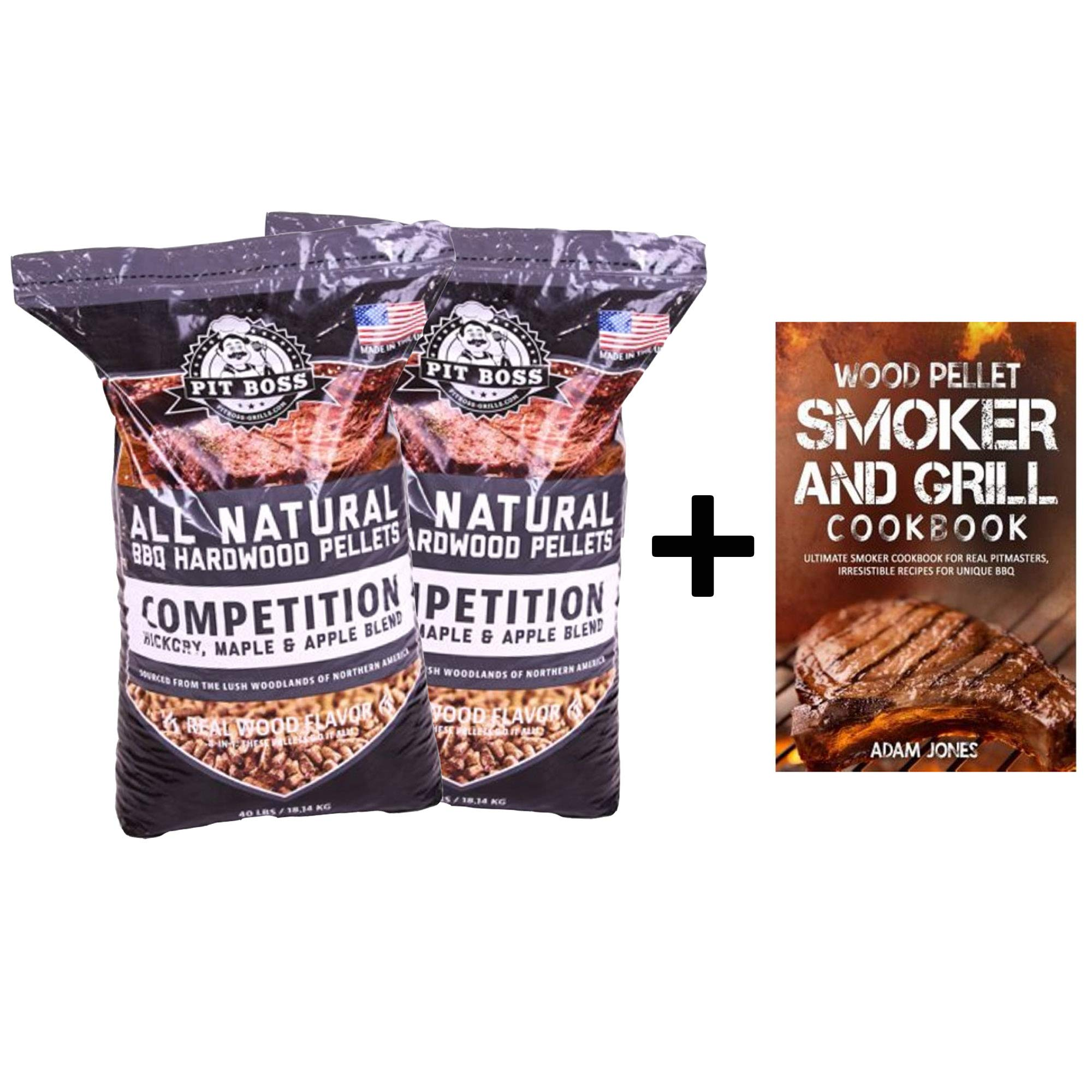 Pit Boss (2 Pack Competition Blend BBQ Wood Pellets - 40 lb Resealable Bag with Pellet Barbeque Cookbook by Pit Boss