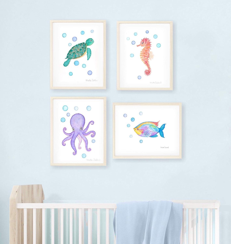Illustration printings sea illustrations origami art Watercolors print