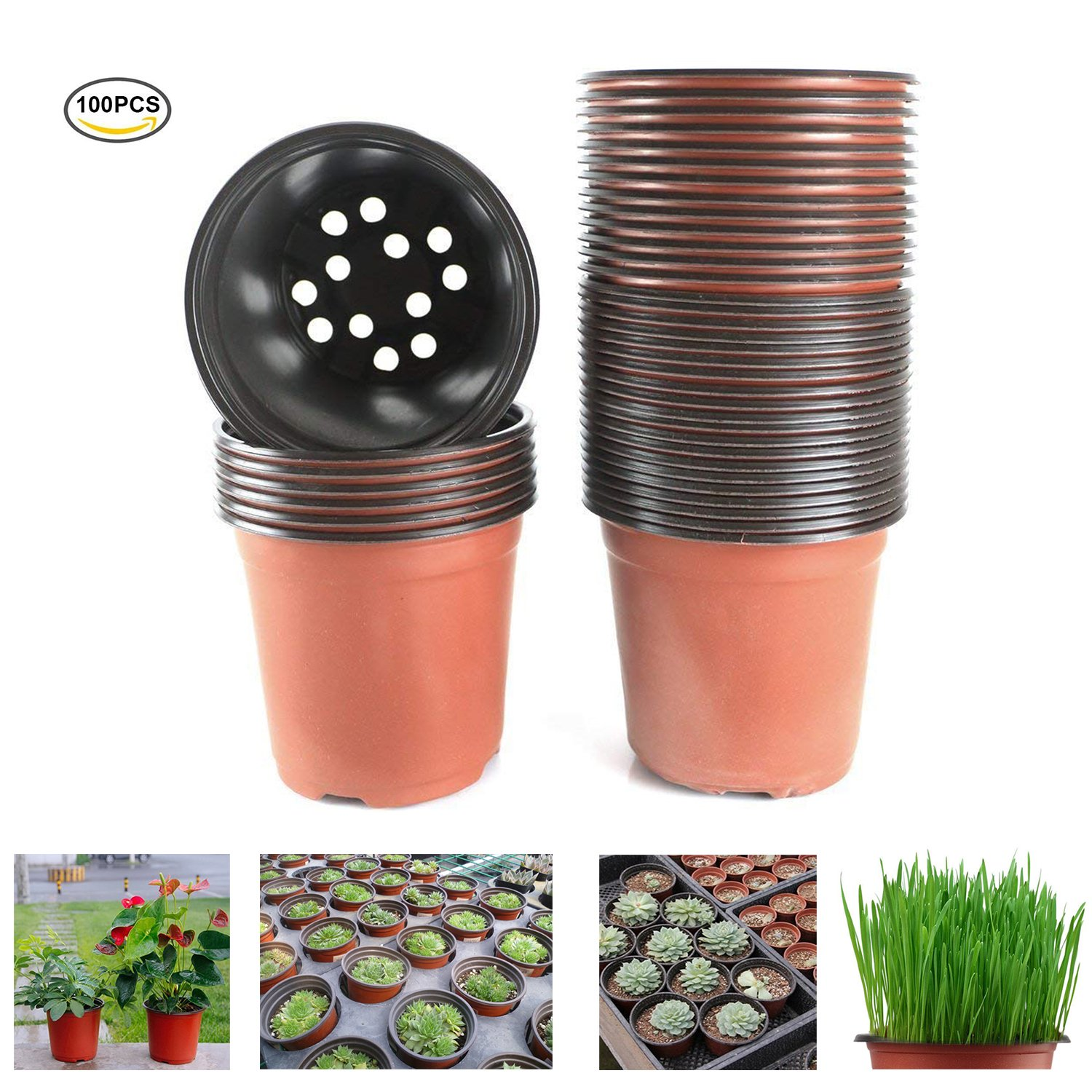 Oubest Plastic Plant Nursery Pots 4'' 100 pcs reusable for Seed Starting Seedlings Cuttings Transplanting Flower Plant Pots