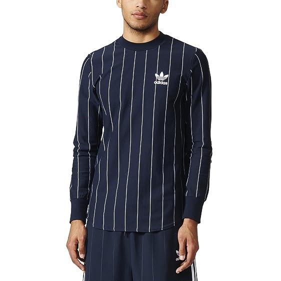 adidas Originals Tokyo Pack Long-sleeved Pinstripe Shirt (L, Legend  Ink/White