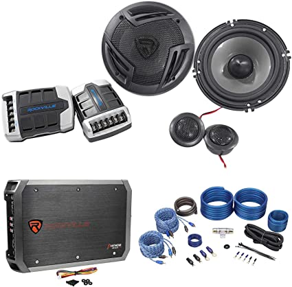 Rockville RV6.3A 6.5 1500w 3-Way Car Speakers+4-Channel Amplifier+Amp Kit 4