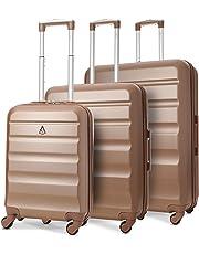Aerolite ABS Trolley Bagaglio a Mano Valigia Rigida Leggera con 4 Ruote, Approvata per Ryanair, Easyjet, Alitalia, Lufthansa, Swiss e Molte Altre, Grigio Carbone