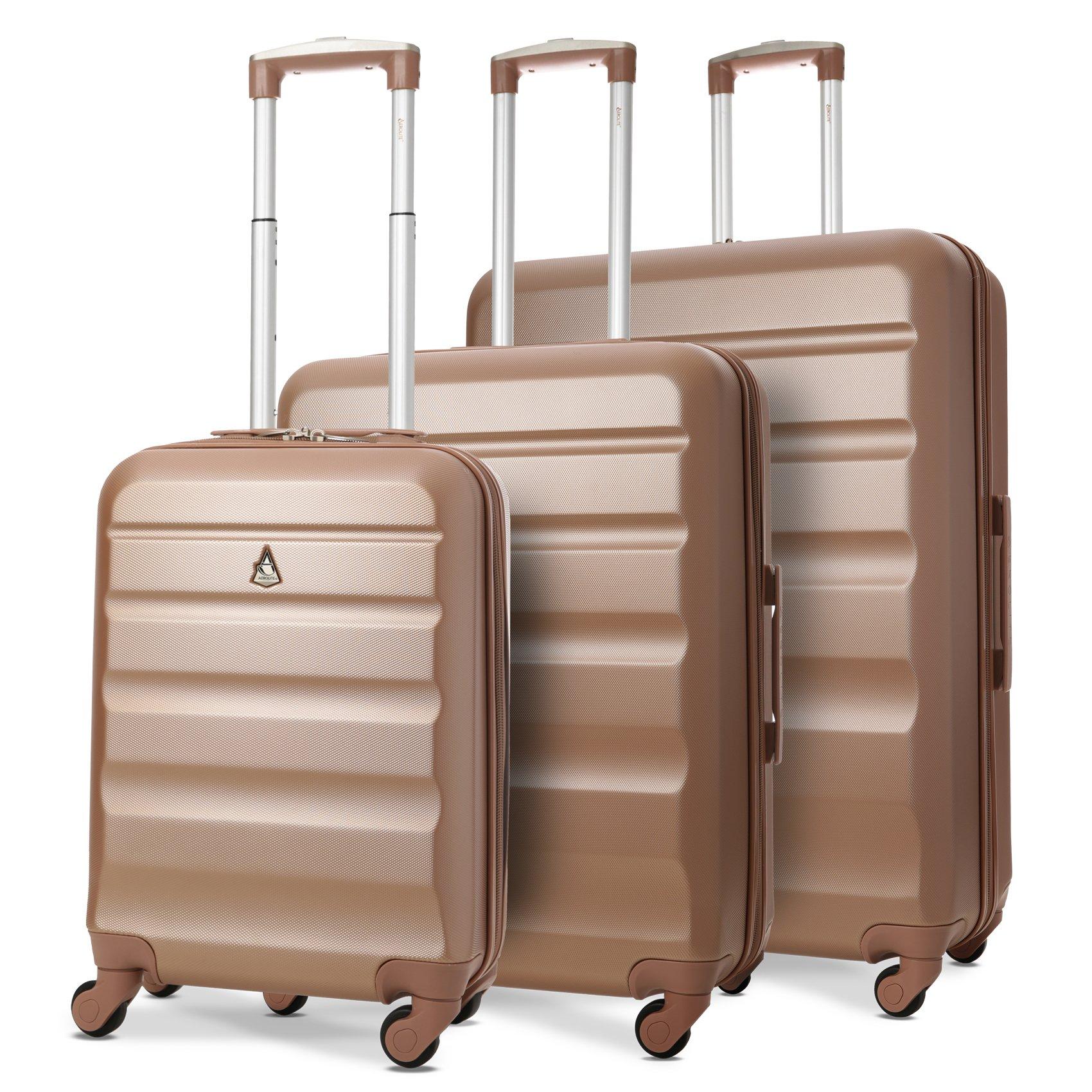 9b19498294 Aerolite Set di 3 - Set valigie da viaggio in ABS - Trolley Rigidi e Leggeri
