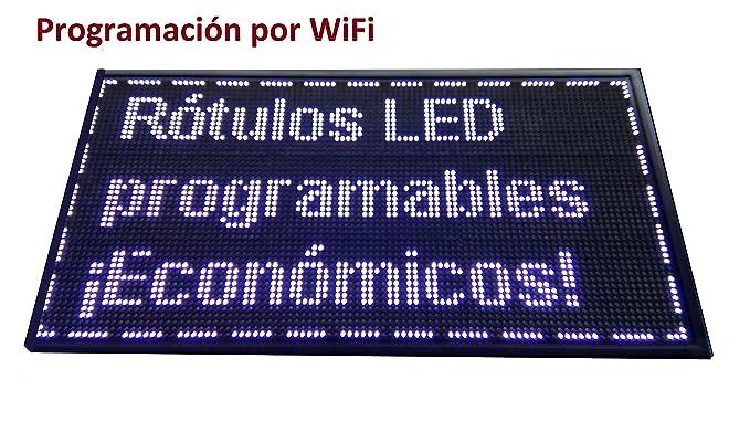 Cartel LED PROGRAMABLE (96x48 cm + WiFi, Blanco) Letrero LED ...