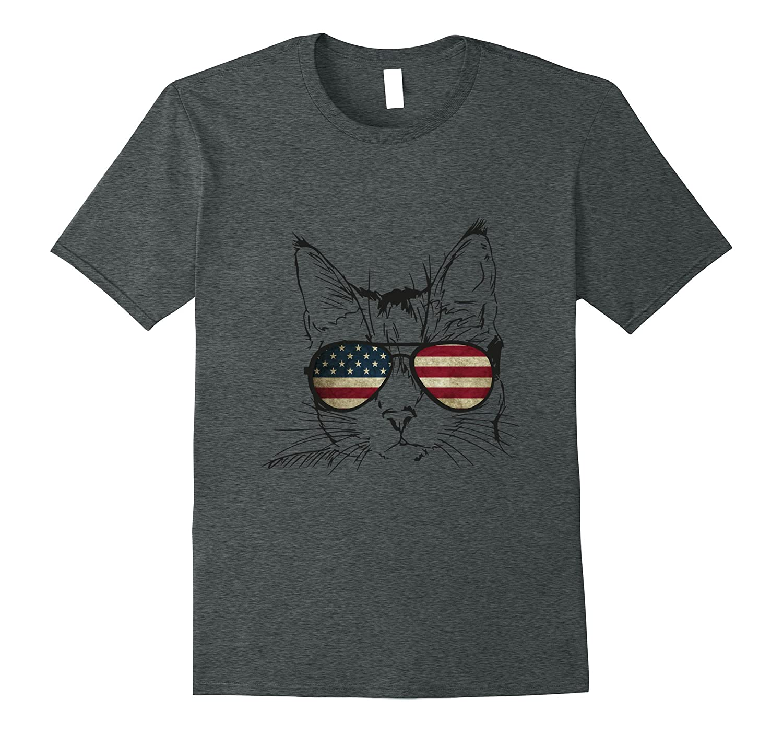 4th Of July Kitten Face Sunglasses American Flag Cat T-Shirt