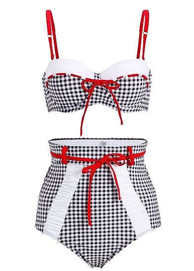 Bikini estilo vintage, pin up, a cuadros, con cintura alta ...
