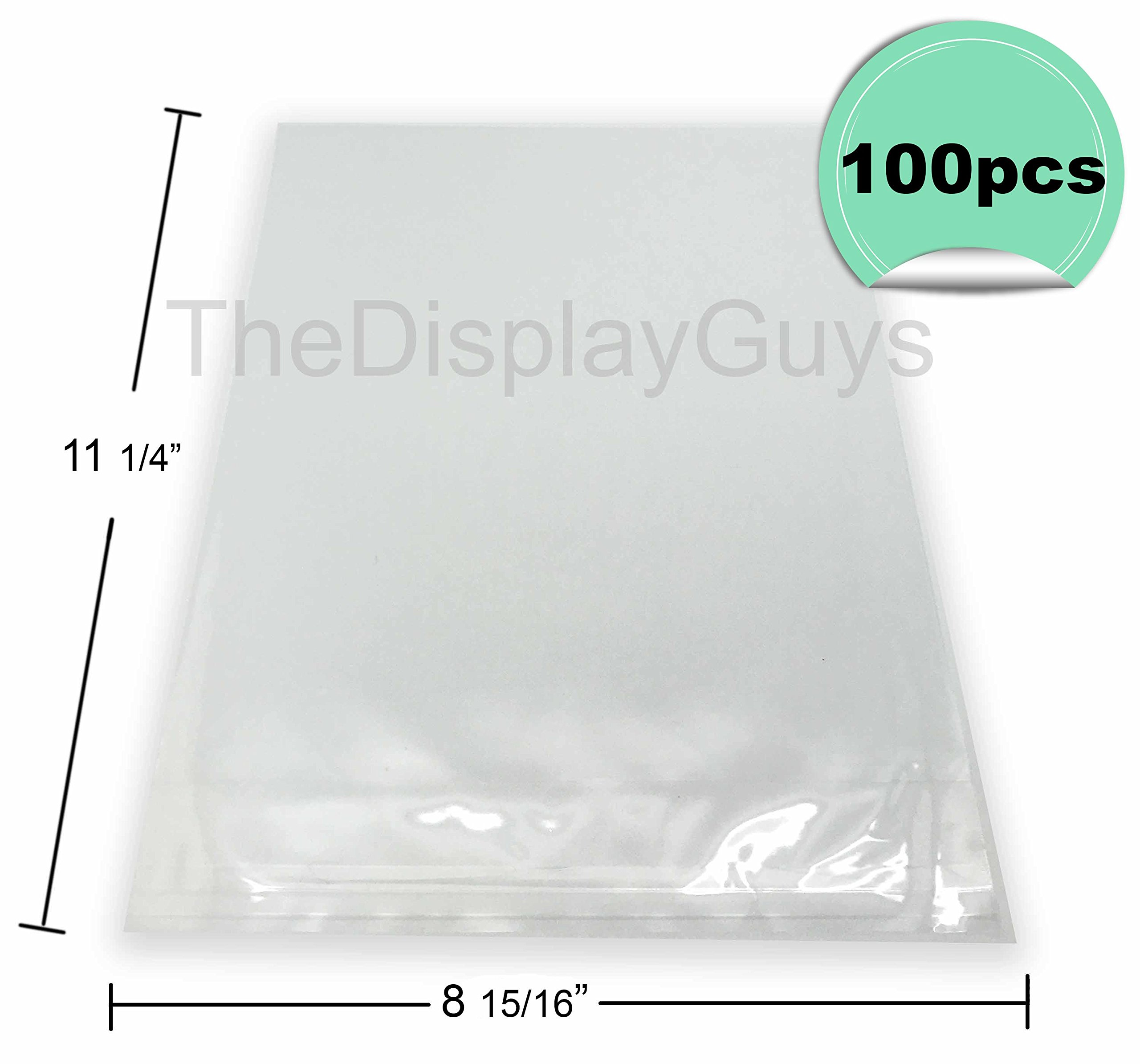 The Display Guys, 100 Pcs 8 15/16'' x 11 1/4'' Clear Self Adhesive Plastic Bags for 8 1/2 x 11 inches Picture Photo Framing Mats Certificates Diplomas