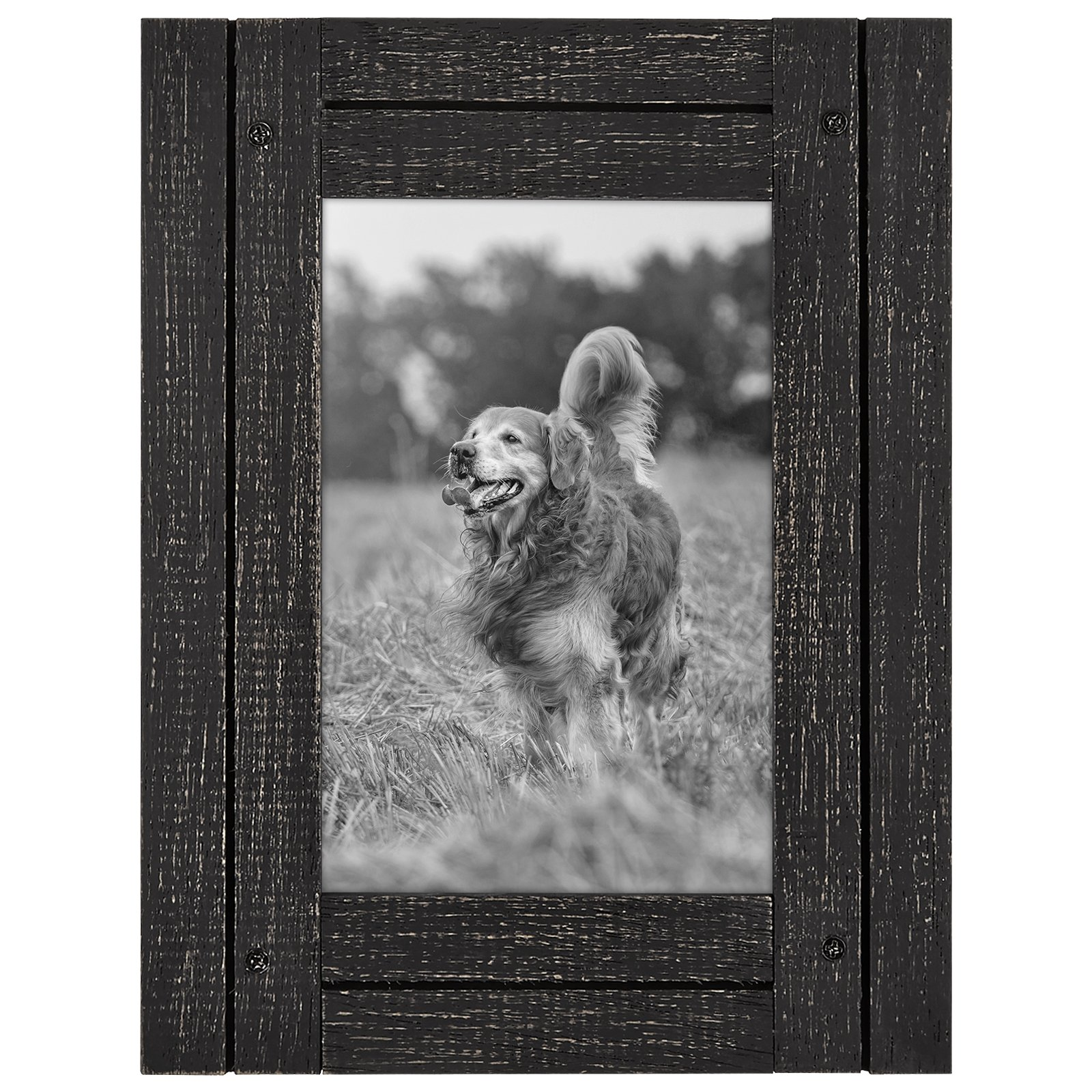 Americanflat 4x6 Charcoal Black Distressed Wood Frame - Made to Display 4x6 Photo - Ready to Hang - Ready to Stand - Built-in Easel