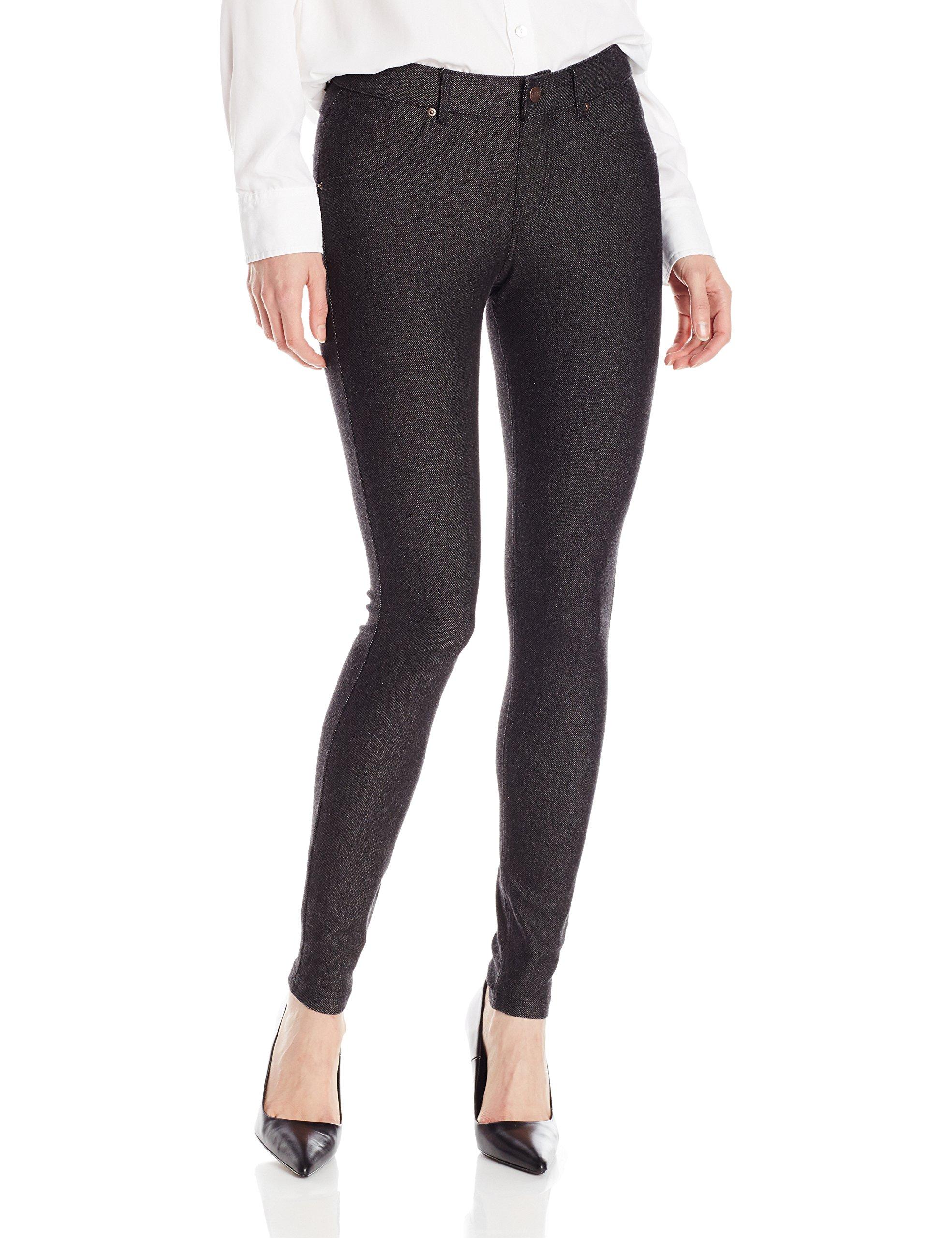 HUE Women's Essential Denim Skimmer Leggings, Black, Large