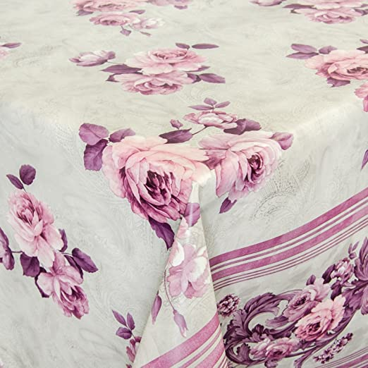 Hule mesa mantel de hule lavable flores borde gris/lila Longitud a ...
